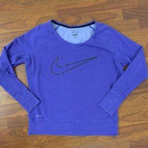 NIKE Purple Check Dri-Fit Long Sleeve Top